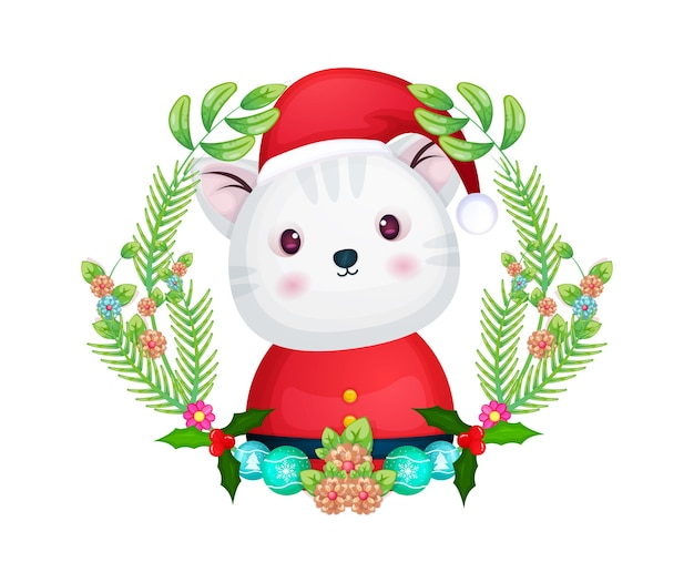 Cute kitty with santa hat in a  floral wreath