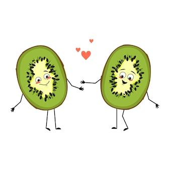 Симпатичный персонаж киви с любовными эмоциями улыбка лицо руки и ножки сладкий тропический экзотический забавный фрукт ...