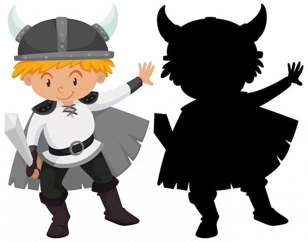 Simpatico personaggio dei cartoni animati del cavaliere con la sua silhouette