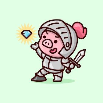 Милый рыцарский свинь в серых дронях, принимающим меч и искаживающийся алмаз. Premium векторы