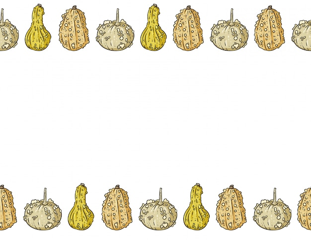 Cute knucklehead pumpkins cartoon frame pattern with copy space