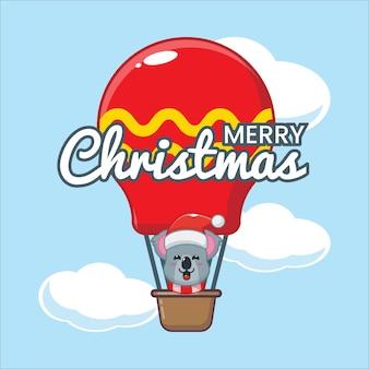 Cute koala in air balloon cute christmas cartoon illustration