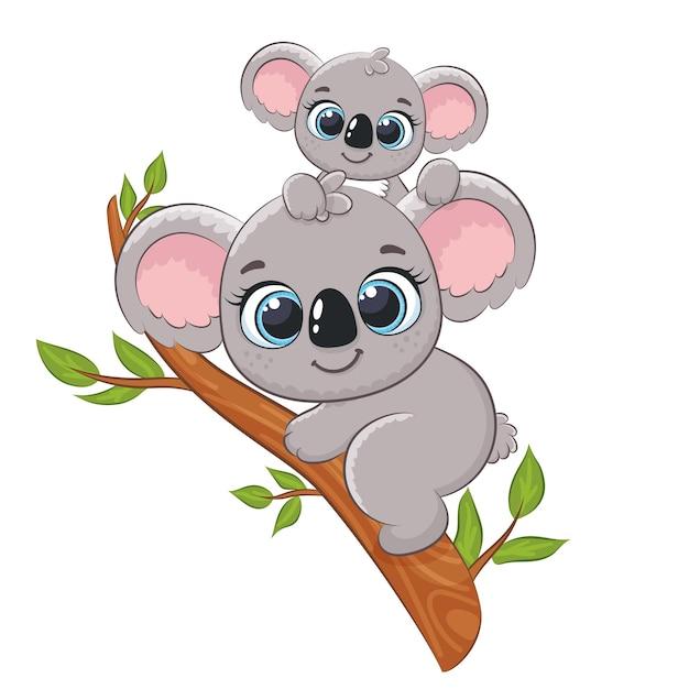 Милая коала и младенец на дереве. векторная иллюстрация мультфильма.