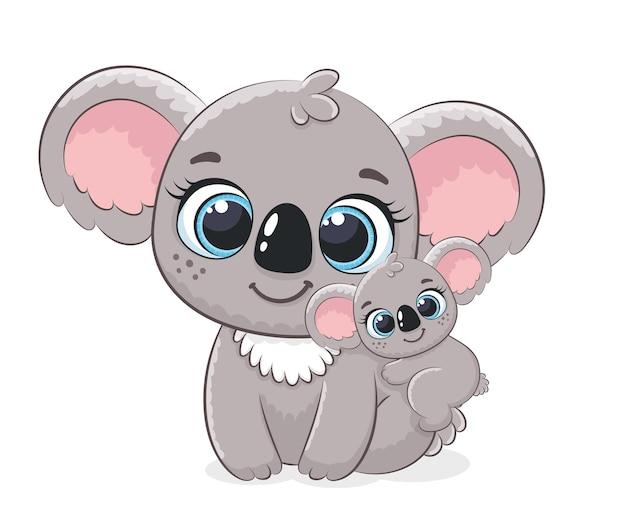 Милая коала и младенец. векторная иллюстрация мультфильма.