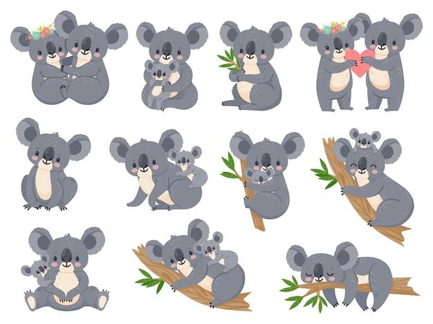 귀여운 코알라와 아기. 엄마와 함께 만화 작은 코알라. 호주 곰 사랑 커플 포옹. 베이비 샤워 파티. 자연 정글 동물 벡터 세트입니다. 그림 만화 코알라 동물, 귀여운 곰 아기