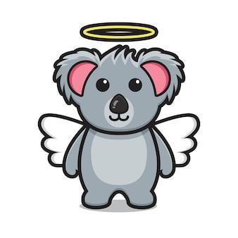 Cute koala angel mascot character cartoon vector icon illustration