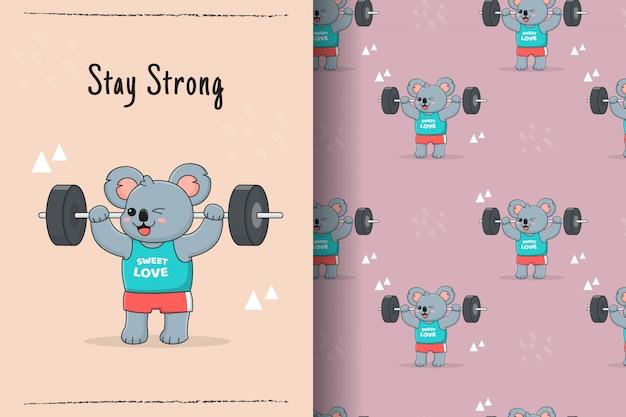 Cute koala barbell seamless pattern and card