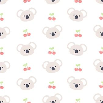 Милый медведь коала и вишня бесшовные модели