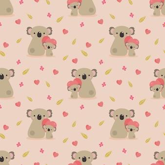 かわいいコアラと心のシームレスなパターン。