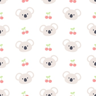 Cute koala bear and cherry seamless   pattern