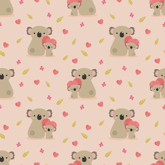Cute koala bear and heart seamless pattern.
