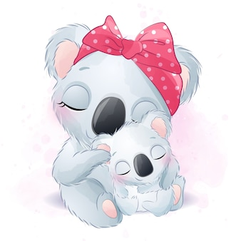Cute koala bear mother and baby illustration
