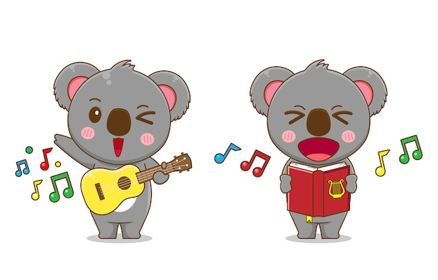 Cute koala bear singing and playing guitar isolated