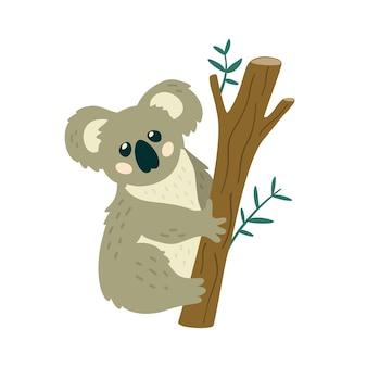 Cute koala bear sitting on the tree creative kids print