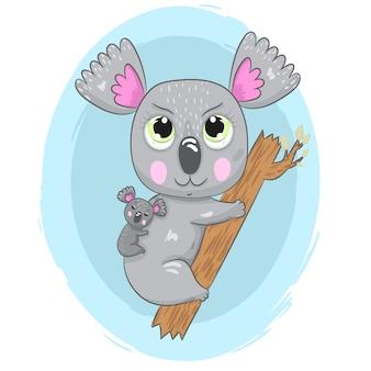 Cute Koala bear with baby cartoon drawing