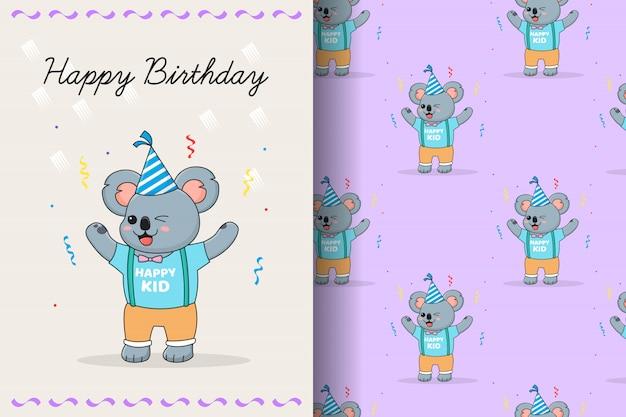 Cute koala birthday seamless pattern and card