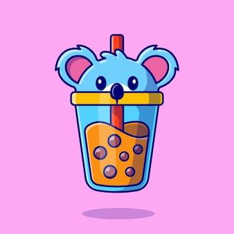 귀여운 코알라 보바 우유 차 컵 만화 아이콘 그림.