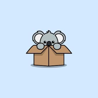 Cute koala in the box cartoon icon