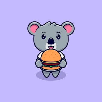 Cute koala bring a burger mascot cartoon