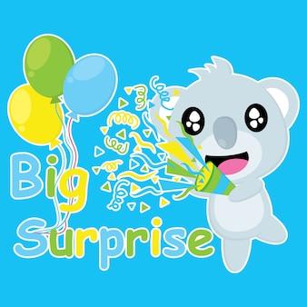 Симпатичная коала приносит конфетти поппер векторный мультфильм, открытка на день рождения, обои и поздравительную открытку, дизайн футболки для детей