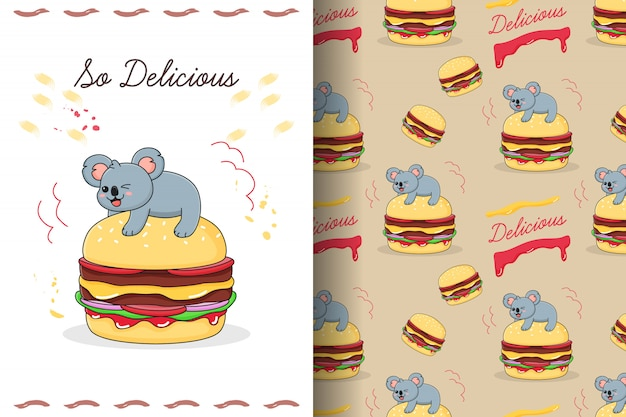 Cute koala on burger seamless pattern and card