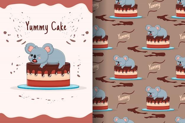 Cute koala cake seamless pattern and card