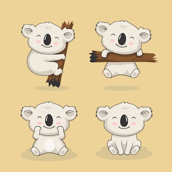 Cute koala cartoon animal set