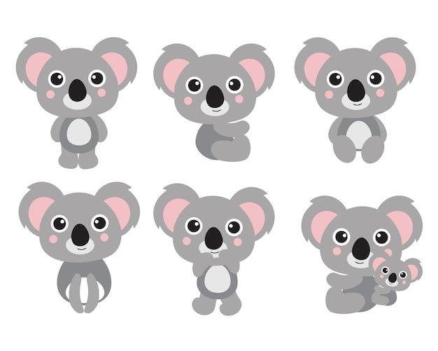 Cute koala cartoon character set