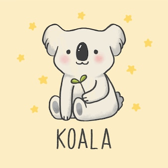 Cute koala cartoon hand drawn style