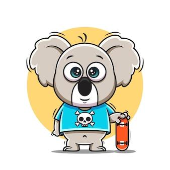 Cute koala cartoon icon vector illustration