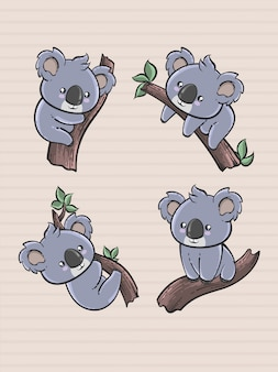 Cute koala cartoon set in hand drawn