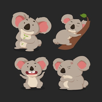 Cute koala cartoon set