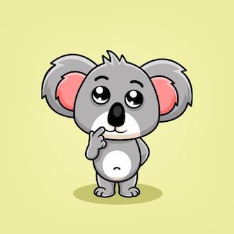 Милая коала мультфильм мышление иллюстрации