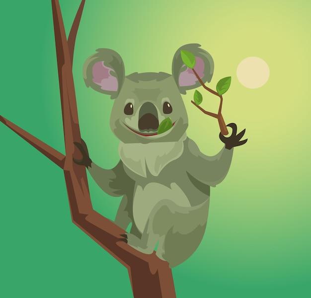 Cute koala character eating eucalyptus leaves.