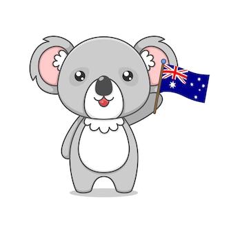 Cute koala character holding australia flag