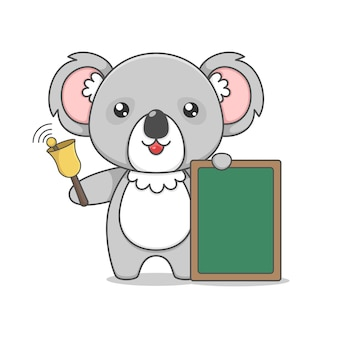 Cute koala character holding board and bell