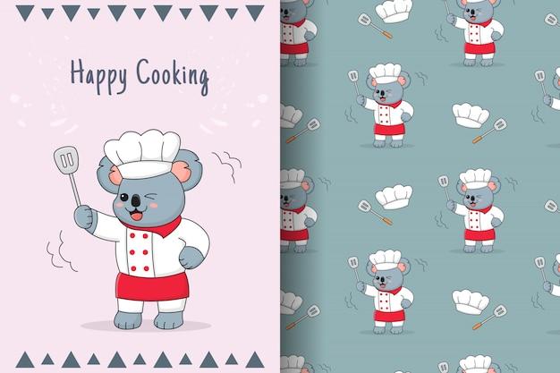 Cute koala chef seamless pattern and card