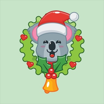 Cute koala in christmas day cute christmas cartoon illustration