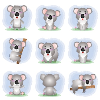 Cute koala collection in the children's style