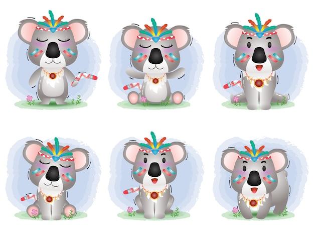 Cute koala collection with aborigine costume