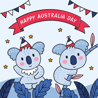 Cute koala couple happy australia day