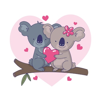 Cute koala couple illustration