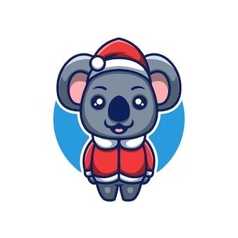 귀여운 코알라 크리에이 티브 크리스마스 만화 마스코트 로고