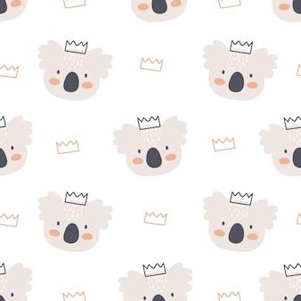 Cute koala and crown seamless pattern
