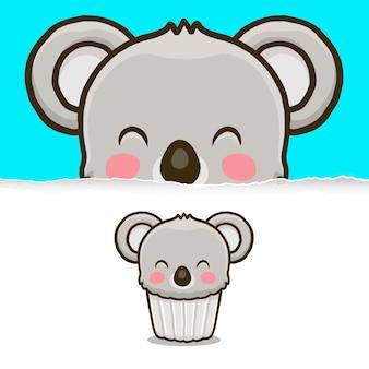 귀여운 코알라 컵 케이크, 동물 캐릭터 디자인.