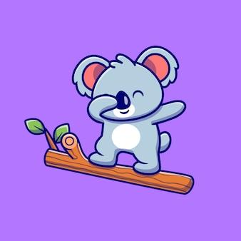 木の漫画を軽くたたくかわいいコアラ。分離された動物の性質のアイコンの概念。フラット漫画スタイル