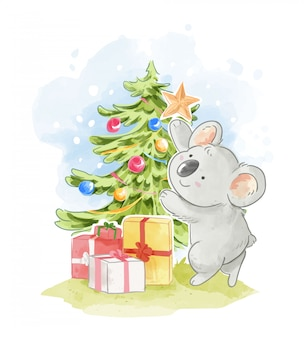 Cute koala descorating christmas tree illustration