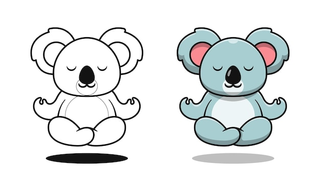 Cute koala doing yoga cartoon coloring pages for kids