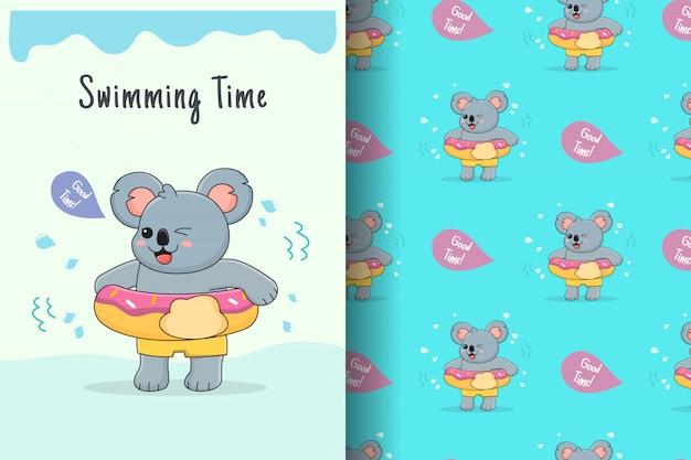 Cute koala doughnut swim ring seamless pattern and card