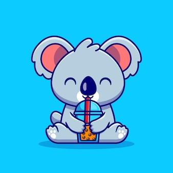 귀여운 코알라 음료 보바 밀크 티 만화 일러스트 레이션